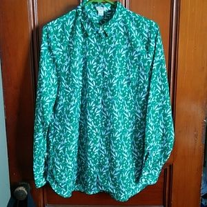 Green floral J. Crew Factory blouse